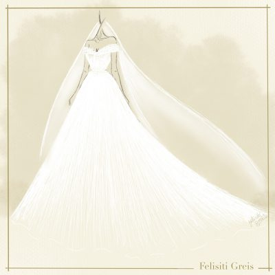 digital illustration of a white off the shoulder wedding gown with veil. the illustration is on a cream background with the inscription Felisiti greis at the far bottom right corner