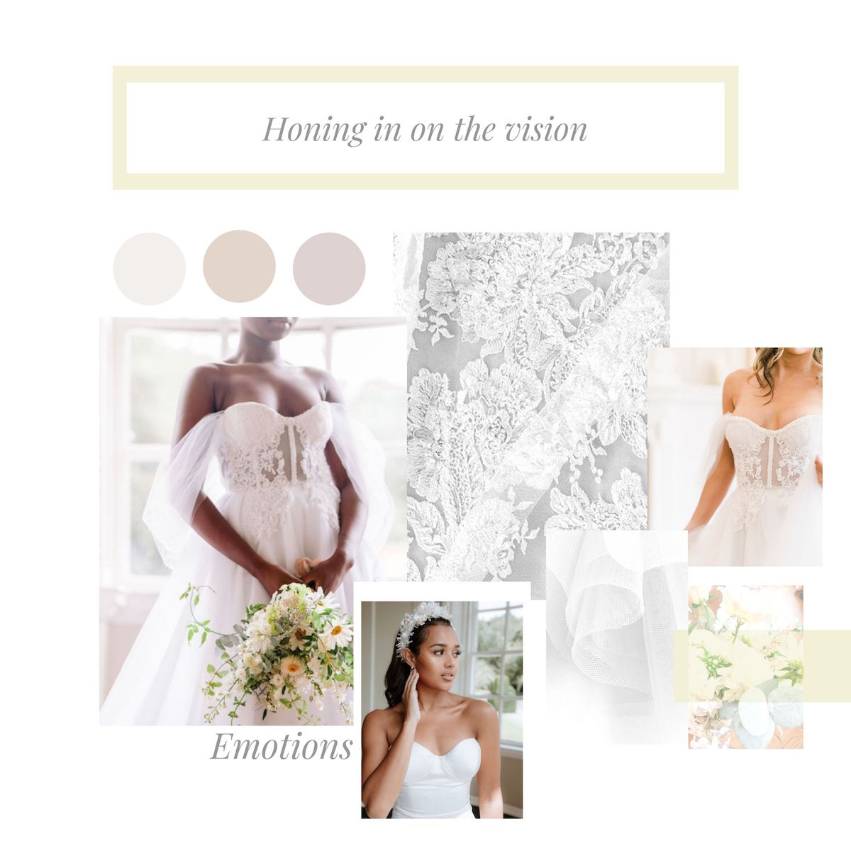 A moodboard for a bride to visualise the vision she has for her dream wedding dress.